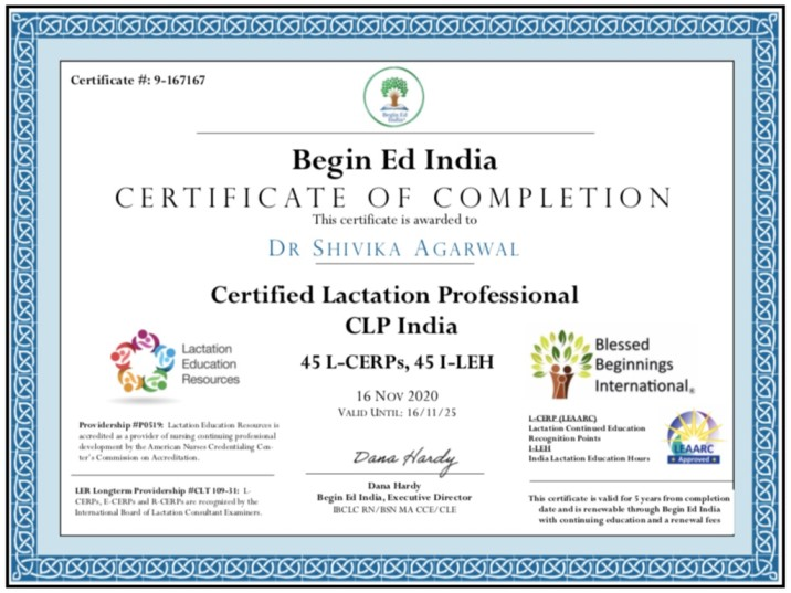 Dr. Shivika Agarwal - Certified lactation Professional